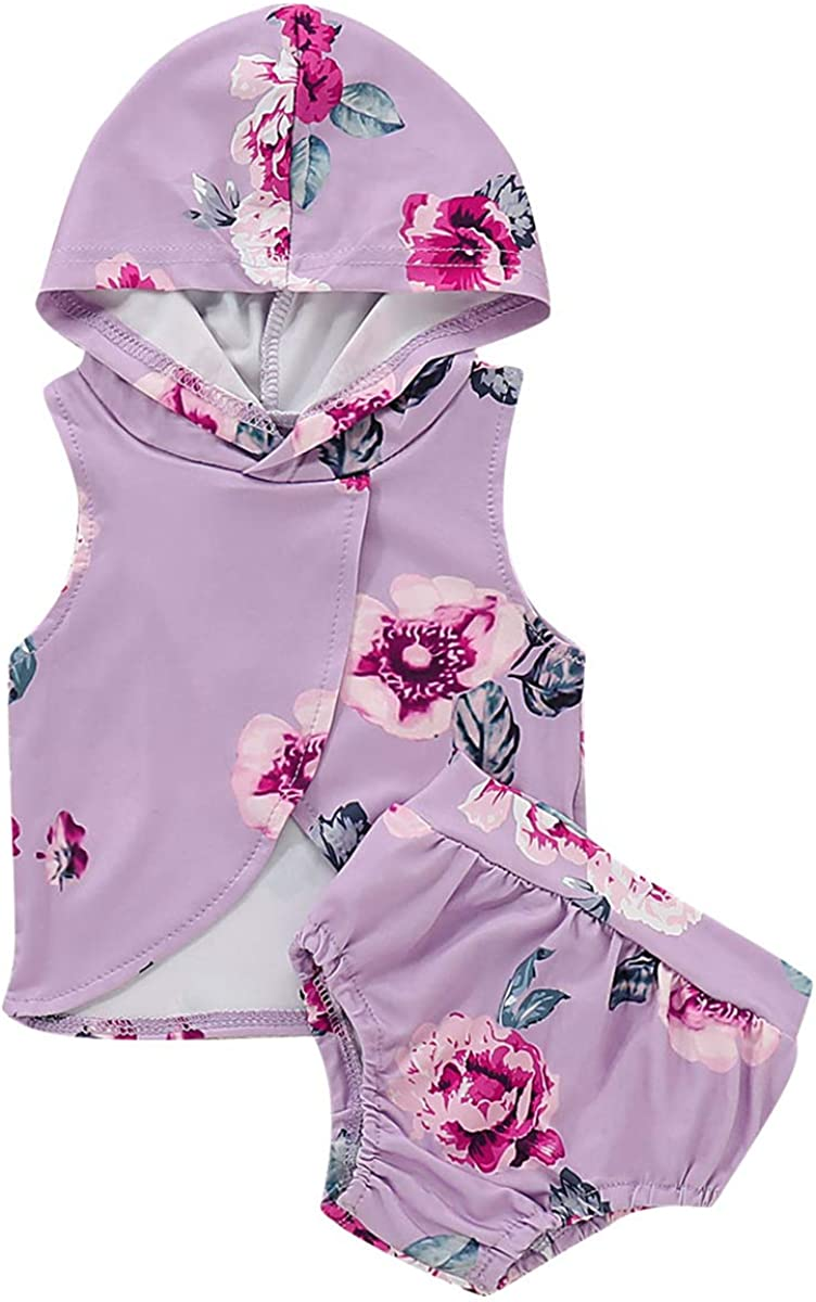 Baby Girl Sleeveless Floral Hoodie Hooded Tank Top Shorts Outfit Clothes Set