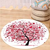 VROSELV Custom carpetTree of Life Decor Collection Ornate Valentine Tree with Swirling Hearts Doodles Love Future Couple Decorative Bedroom Living Room Dorm Red Black Round 72 inches