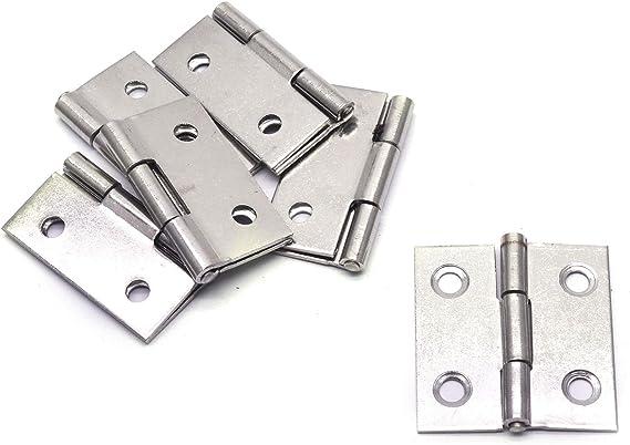 Swinging Hinges Karcy Door Hinges Silver Stainless Steel 1.7-Inch Hinges with Mounting Screws Pack of 12
