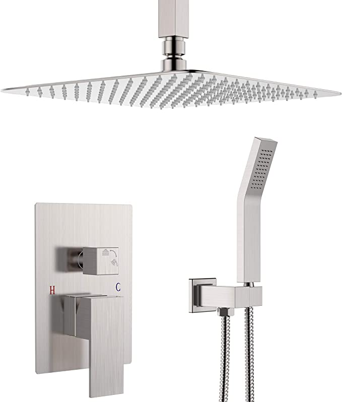 """Bath Square LED 12/"""" Brushed Nickel Rainfall Shower Head Top Ceiling Wall Mounted"""