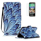 For HTC EVO 10 Case with Free Screen Protector, Funyye Vintage Pattern Magnetic PU Leather Wallet Case with Credit Card Holders Slots Protection Case for HTC EVO 10 -Peacock flower