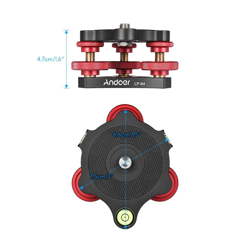 Andoer LP-64 Tripod Leveling Base Tri-Wheel Precision Leveler with Bubble Level 3//8 Screw Aluminum Alloy Max 15kg//33Lbs