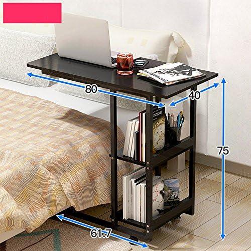 ZR- Comodino Pigro Taccuino Scrivania del Computer può Muoversi Domestico Camera da Letto Semplice Scrivania Multifunzione Bookshelf Uso del Letto Tavolo con Ruote (Colore : B)