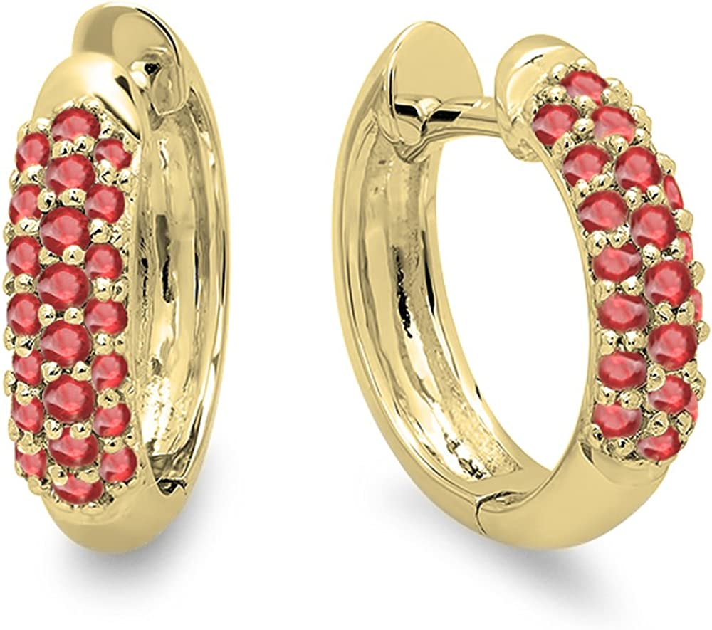 18K oro amarillo redondo Gemstone Ladies Huggies Pendientes de aro