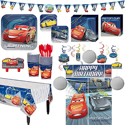 Cars 3 Birthday Party Kit, Includes Happy Birthday Banner and Decorations, Serves 16, by Party City]()