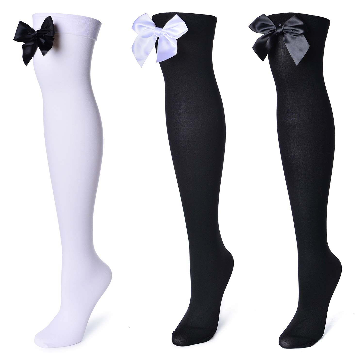 3 Pairs Womens Girls Solid Color Striped Over The Knee High Stockings Socks bows Tie Lace