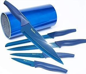 Wanbasion Kitchen Knife Set Block Stainless Steel Kitchen Knife Set Professional Kitchen Knife Set Block with Blue Titanium