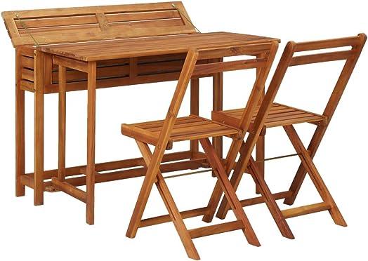 Unfade Memory Outdoor Wood Folding Bistro Set Balcony Planter Table