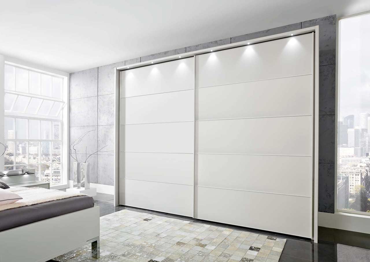 Lifestyle4living - Armario de puertas flotantes con mango y listones transversales en color champán, 3 elementos, 2 estantes y 1 barra para ropa, dimensiones: 300 x 236 x 67 cm aprox.: Amazon.es: Hogar