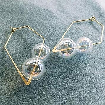 GMZOO Pendientes de aro de Burbuja soplados a Mano Originales Mujeres Pendientes de Bola de Cristal Coloridos únicos únicos Pendientes claros