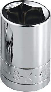 product image for SK Professional Tools 41128 1/2 in. Drive 6-Point Fractional Standard Chrome Socket – 7/8 in, Cold Forged Steel Socket with SuperKrome Finish, Made in USA