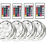 REDGO Submersible Led Underwater Lights, Battery Powered, 10 LED RGB MultiColor Lights IR Remote Controller Hot Tub Sub Rockery Grass Land Bath Disco Bar Spa Floral Centerpiece Stage, 4 Packs