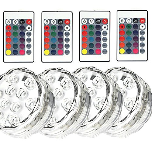 d Underwater Lights, Battery Powered, 10 LED RGB MultiColor Lights IR Remote Controller Hot Tub Sub Rockery Grass Land Bath Disco Bar Spa Floral Centerpiece Stage, 4 Packs ()
