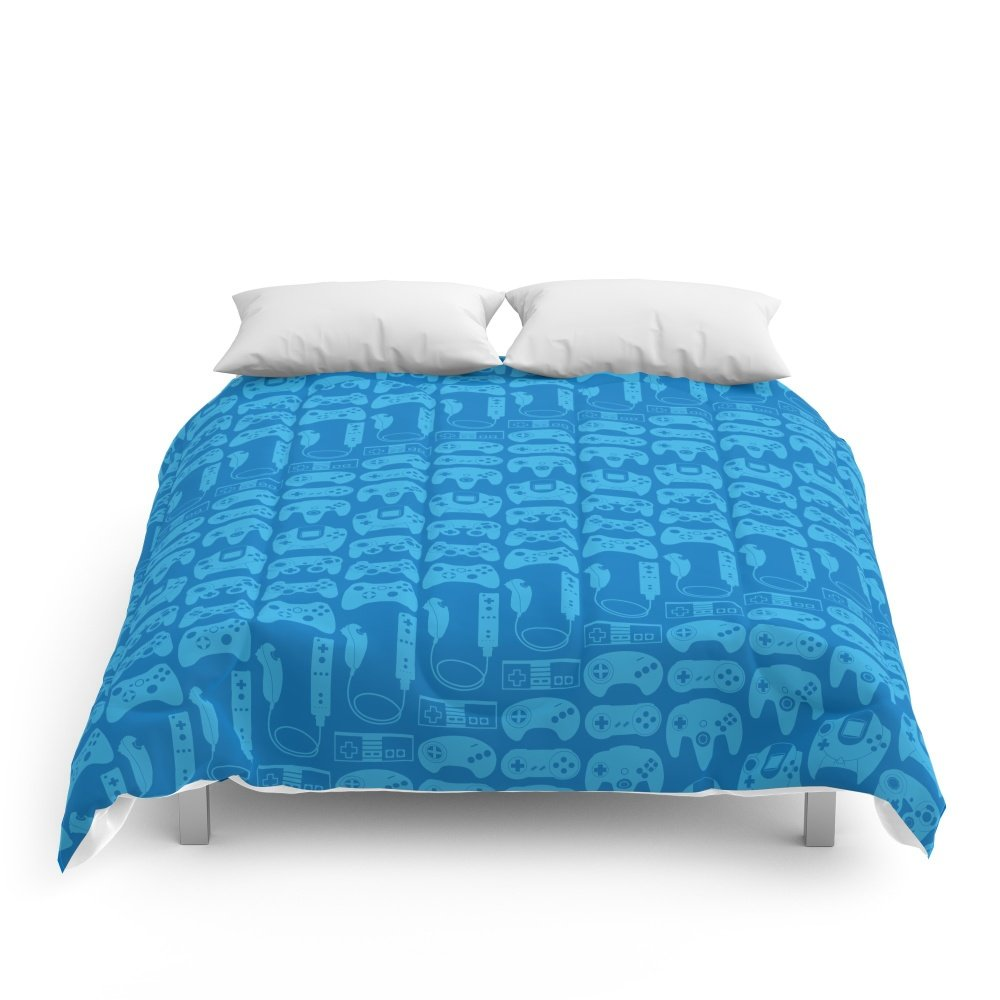 Society6 Video Game Controllers - Blue Comforters Queen: 88'' x 88''