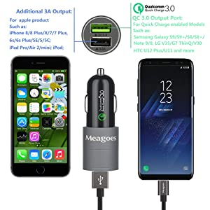 Meagoes Fast USB C Car Charger, Compatible Samsung Galaxy S10 Plus/S10/S10e/S9 Plus/S9/S8+, Note 9/8, LG V40 ThinQ/G7/ V30 Smart Phones, Quick Charge 3.0 Port Car Adapter with Rapid Type C Cord Cable (Color: Space Grey)