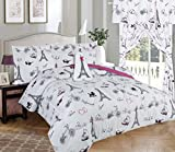 Golden Linens Full Size 4 Pieces Printed Comforter set Multi colors White Black Pink Paris Eiffel Tower Design Girls/Kids/Teens # Full 4 Pc Paris