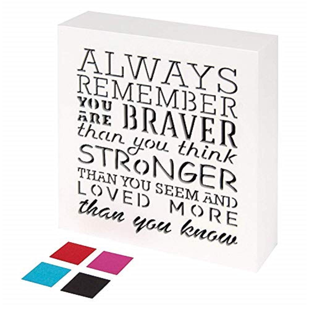 KAUZA Always Remember You are Braver Than You Think - Inspirational Gifts Positive Wall Plaque Pallet Saying Quotes for Birthday - Presents for Mom Sister Grandma 5.5 x 5.5 Inch by KAUZA