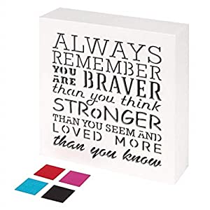 KAUZA Always Remember You are Braver Than You Think - Inspirational Gifts Positive Wall Plaque Pallet Saying Quotes for Birthday - Presents for Mom Sister Grandma 5.5 x 5.5 Inch