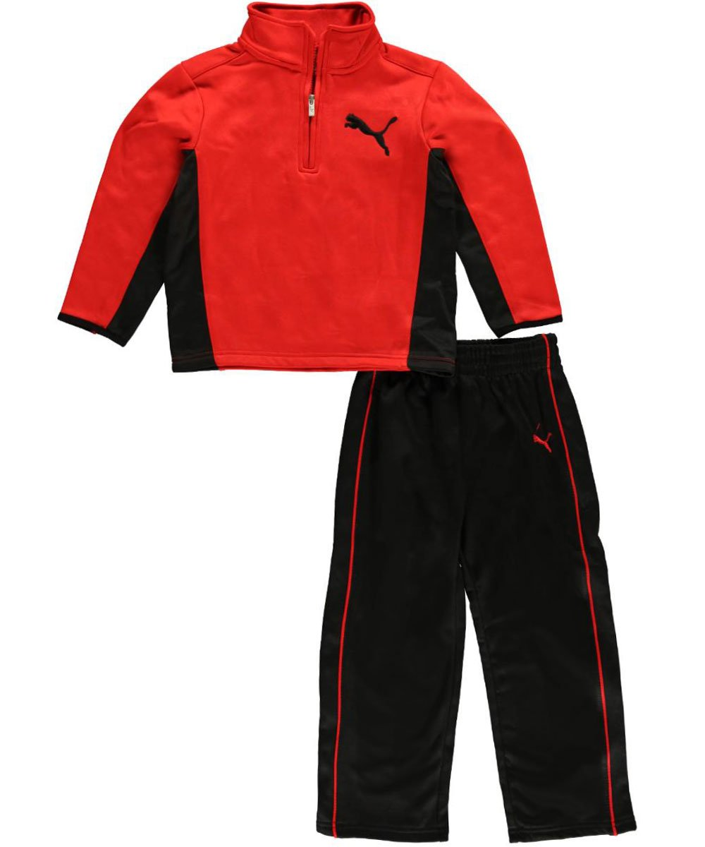 Puma Little Boys Angle 1/2 Zip Set (5, High Risk Red)