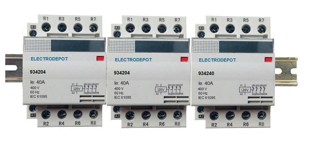12 Pole Contactor Normally Open Lighting Contactor 120V Coil, 4 x 3 Set 30A, 40A, 50A, 60A