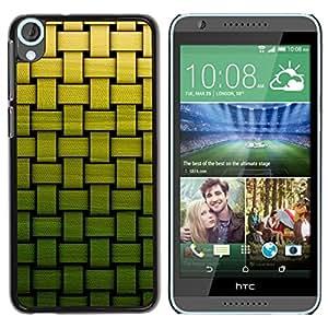 TopCaseStore / la caja del caucho duro de la cubierta de protección de la piel - Basket Pattern Green Bamboo - HTC Desire 820
