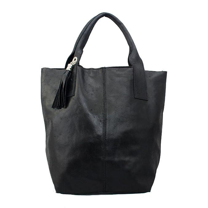 COSIMA LEONE - Bolso shopping bag de mujer. Modelo GHITA. Genuina piel italiana.