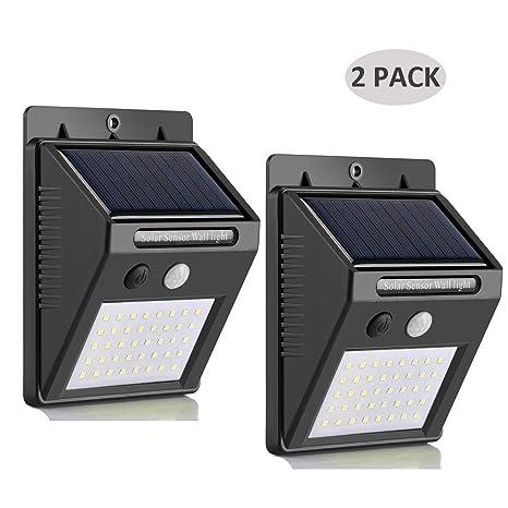 Luz Solar, 40LED Lámpara Solar Exterior con Sensor de Movimiento, Foco Solar Impermeable de