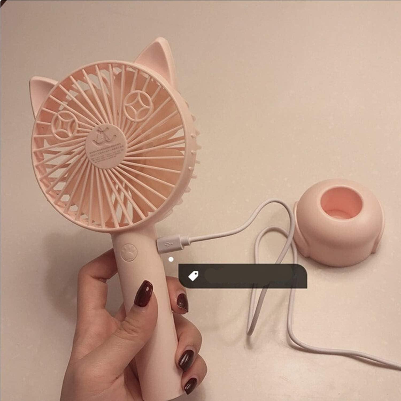 Air Cooler Mini Handheld Fan USB Rechargeable Cute Cat Big Wind Personal Desktop Fan Office Dormitory Color : Blue
