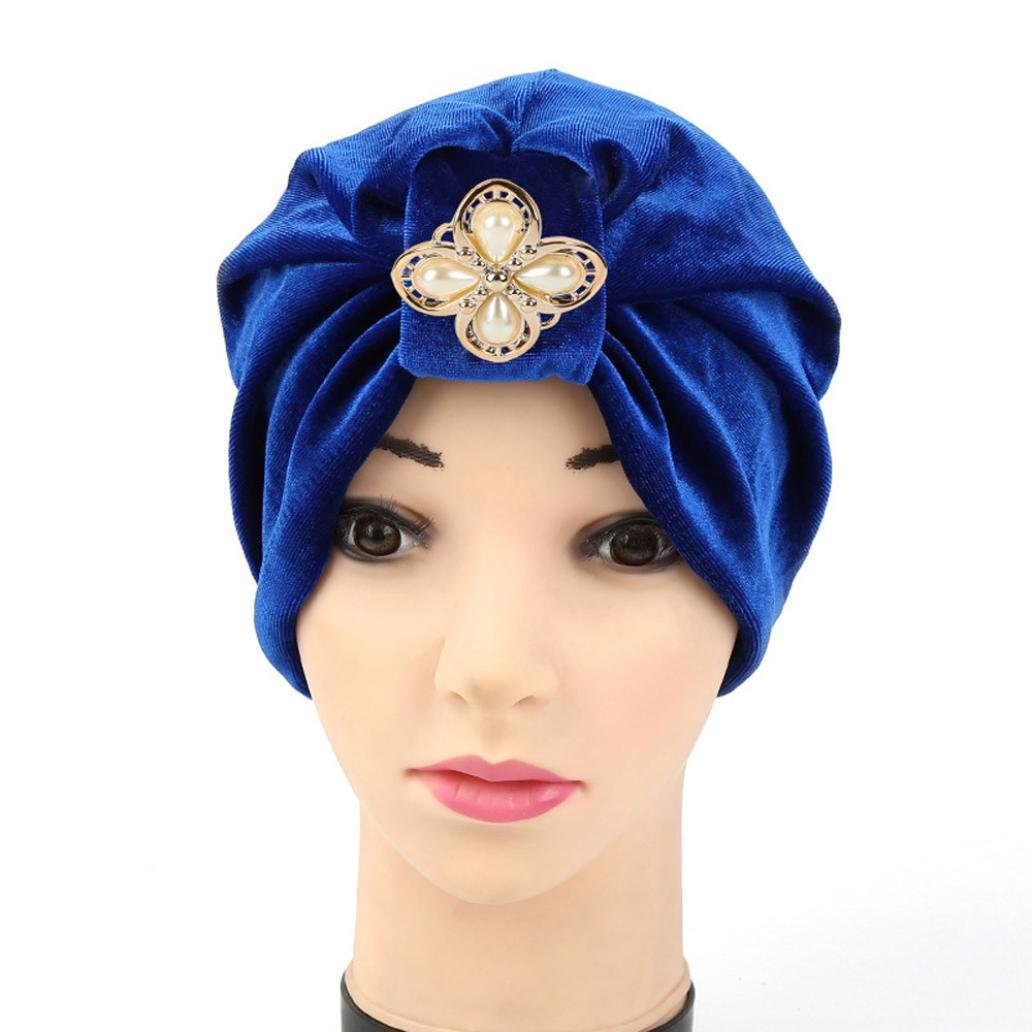 Fabal Women Diamonds Muslim Ruffle Cancer Chemo Hat Beanie Scarf Turban Head Wrap Cap (Blue)