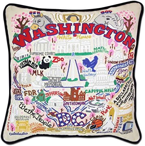 Catstudio Washington DC Embroidered Decorative Throw Pillow