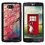 LASTONE PHONE CASE / Slim Protector Hard Shell Cover Case for LG OPTIMUS L90 / D415 / Fall Red Trees Forest Leaves Mystery
