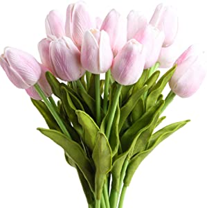 20Pcs Artificial Latex Tulips Flowers Fake Real Touch Pu Tulips Flower Faux Tulips with Stems for Spring Wedding Bouquet Centerpiece Floral Arrangement Table Décor Party Home Decoration,Pink