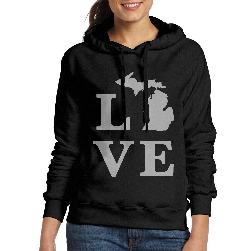 Cap New Women Hoodies Long Sleeve Sweatshirts Hoodies for Women Michigan-State Outline-Love Drawstring Sweatshirts