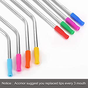22Pcs Reusable Straws Tips, Silicone Straw Tips, Multi-Color Food Grade Straws Tips Covers Only Fit for 1/4 Inch Wide(6MM Out Diameter) Stainless Steel Straws by Accmor (Color: Multi)