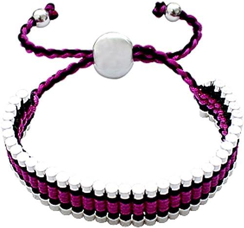 Belle Bracelet D Amitie Fabrique A La Main Violet Complexe Dessin Tricote Si Facile A Porter