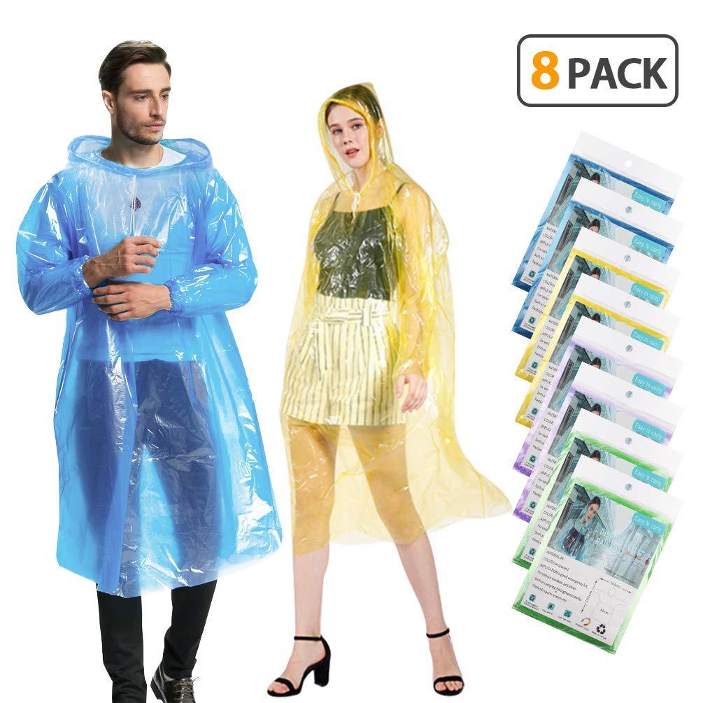KMMIN Disposable Ponchos, Emergency Rain Ponchos for Adults Reusable Running Waterproof Rain Ponchos Plastic Clear Raincoat, Portable Disposable Rain Ponchos for Men Women (8 Pack) by KMMIN