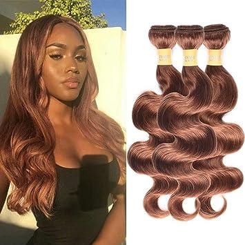 Amazon.com   Wome Hair Peruvian Virgin Remy Hair Bundles Pure Color Medium  Brown  30 3 Bundles Body Wave Unprocessed Human Hair Weft(12 12 12 35c9bb23ca3a