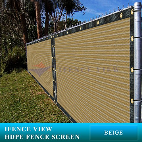 Ifenceview 4'x5' to 4'x50' Beige Shade Cloth/Fence Privacy Screen Fabric Mesh Net for Construction Site, Yard, Driveway, Garden, Railing, Canopy, Awning 160 GSM UV Protection (4'x5') by Ifence View