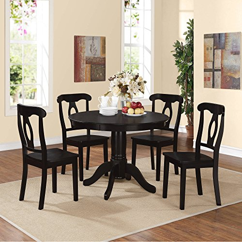 ABY 5-Piece Traditional Height Pedestal Dining Set, Multiple Colors, Black, with a modern twist, Napoleon-style 4 chairs design, Round pedestal table, Dimensions LxWxH41.75x41.75x30.00