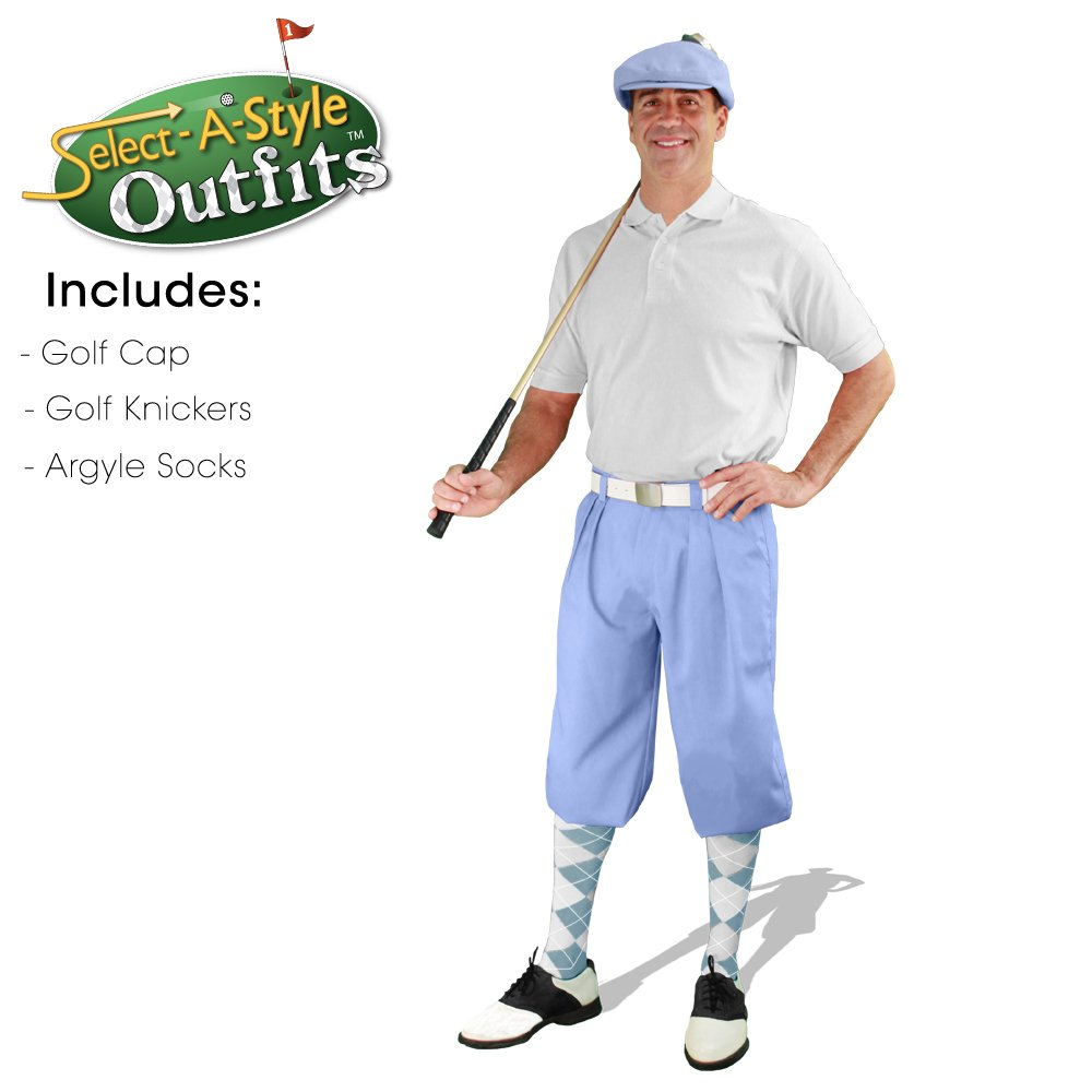 Golf Knickers Mens Select-A-Style Outfit - Light Blue - Waist 34 - Sock - LB/WH
