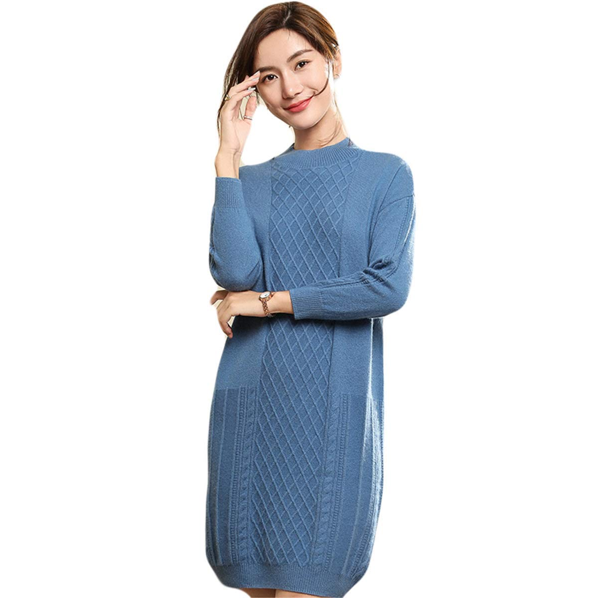 bluee MCieloLuna Women's 100% Cashmere Soft Knit Turtleneck Sweater Dress