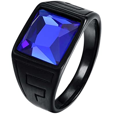 16741019dedfb LWLH Men Vintage Square CZ Crystal Stone Titanium Steel Ring Band Gothic  Biker Knight Sapphire Blue Black