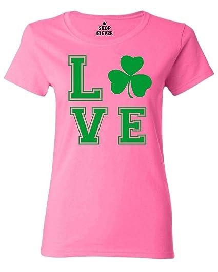 5c6f49f04 Shop4Ever Green Shamrock Love Women's T-Shirt St. Patrick's Day Shirts  Small Azalea Pink