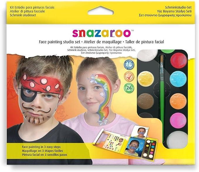 Snazaroo - Set estudio de pintura facial con guía en 3 pasos: Amazon.es: Juguetes y juegos