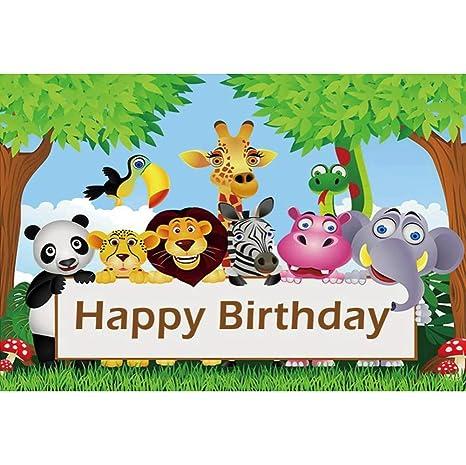 Cassisy 1,5x1m Vinilo Cumpleaños Telon de Fondo Feliz cumpleaños Bandera Animales del Bosque Campos de Hierba Verde Fondos para Fotografia Party bebé ...