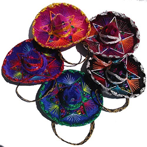 Mini Mexican Sombreros - Charro Style 5 Pack - 5