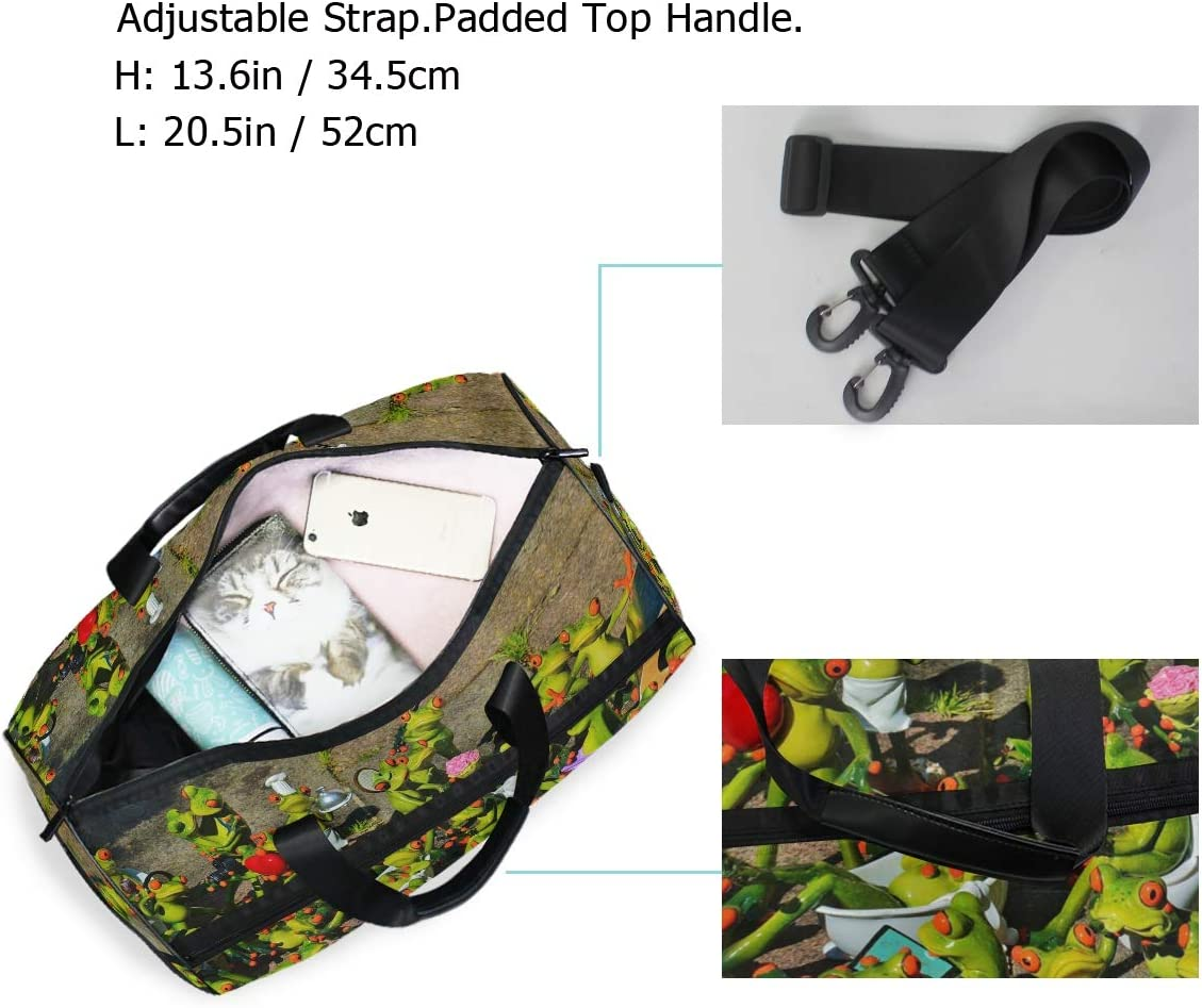 MUOOUM Awesome Sport Frogs Love Large Duffle Bags Sports Gym Bag with Shoes Compartment for Men and Women