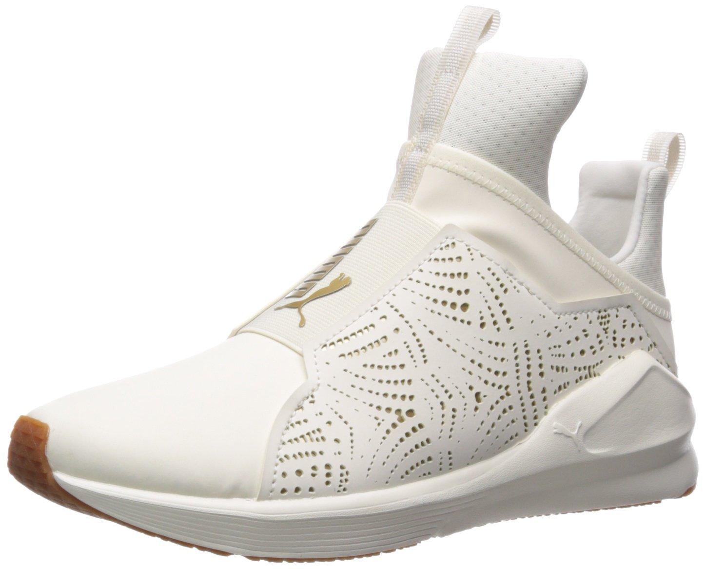 PUMA Women's Fierce Lasercut Wn Sneaker B0721KD1TL 8.5 B(M) US|Whisper White-gold