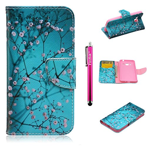 J3 Case, Firefish High Grade PU Leather Wallet [Card Pockets] [kickstand Feature] Magnetic Closure and Scratch-Resistant Case for Samsung Galaxy J3 - Plum (Costume Direct New Business)