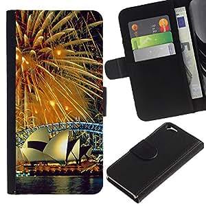 Sydney Fuegos artificiales - la tarjeta de Crédito Slots PU Funda de cuero Monedero caso cubierta de piel Para Apple (4.7 inches!!!) iPhone 6 / 6S